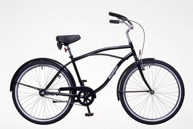 Sunset férfi fekete/fehér fekete nyereg, fekete markolat, ezüst felni, fehér szélű köpeny kerékpár