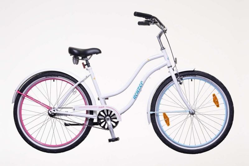 Sunset női fehér/pillangós   kerékpár