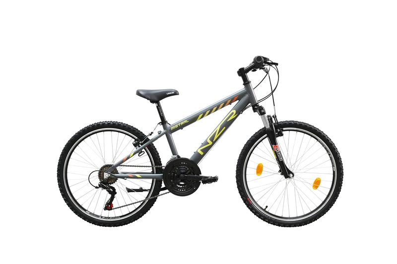 Mistral 24 fiú szürke/sárga- narancs  gyerek kerékpár