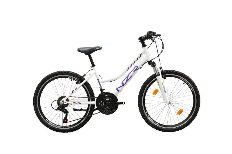 Mistral 24 lány fehér/lila- fekete  gyerek kerékpár